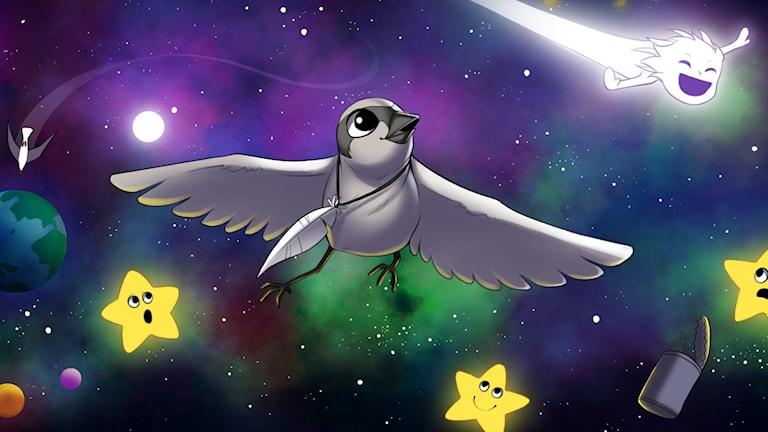 Följ med fågelungen Ix på en resa ända ut i rymden.