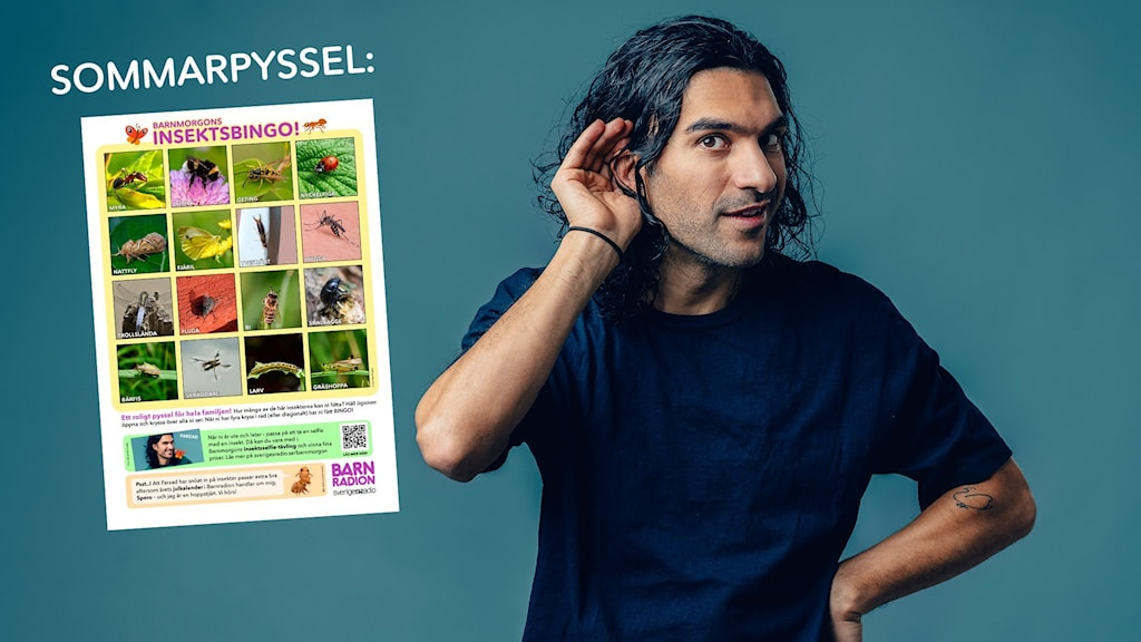 Farzad lyssnar med handen bakom örat i Kompistorsdag, bredvid honom är en bingobricka med insekter, ett sommarpyssel.