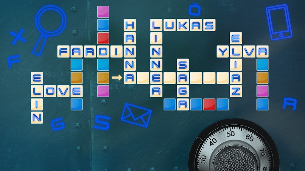 En bild med färgglada rutor, och ifyllda namn i en del av rutorna. Bakom rutorna syns störningsskåpet i Mysteriefredag som Ylva Hällen försöker lösa.
