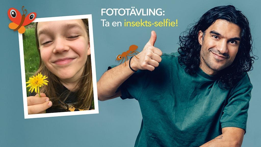 Ture har tagit en insektsselfie med några små skalbaggar i en maskros. Farzad gör tummen upp. Selfie: Ture. Farzad: Alexander Donka.