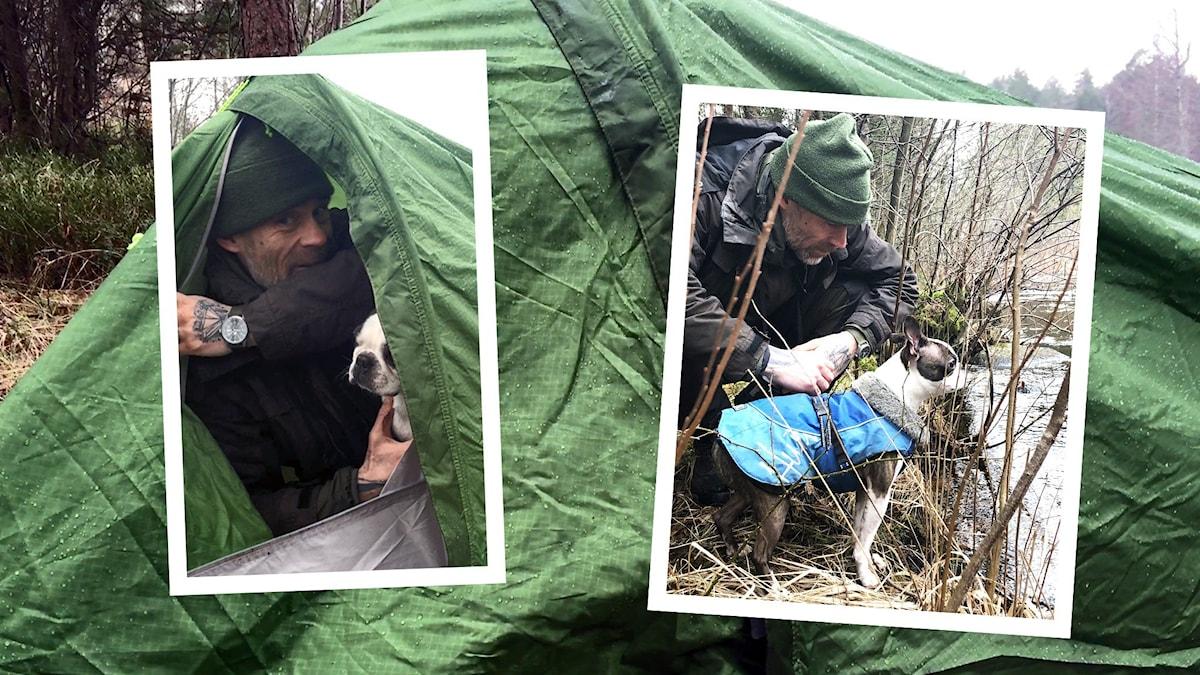 Jonas och hunden Puck har sovit i tält och vaknar upp utomhus, sen hittar de en bäck.