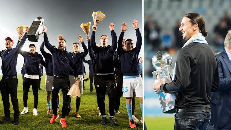 Malmö FF jublar för att de är svenska mästare. Stjärnan Zlatan Ibrahimovic delade ut prispokalen.
