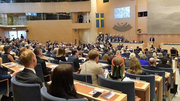 Urban Ahlin, förste talman, talar i riksdagshuset under riksmötets öppnande.