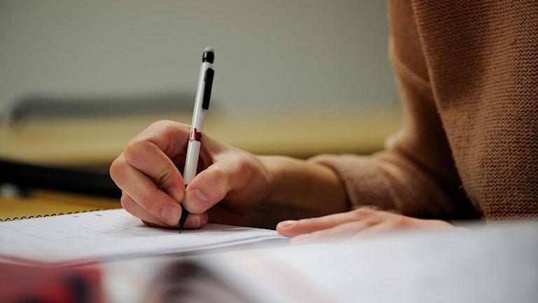 En tjej sitter och studerar.