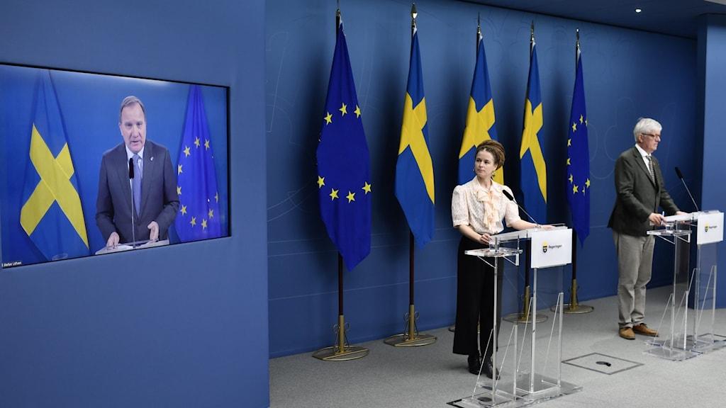 Bild på en presskonferens med Stefan Löfven, Amanda Lind och Johan Carlson.