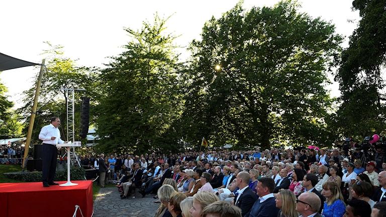 Statsminister Stefan Löfven (S) håller tal i Almedalen 2016.