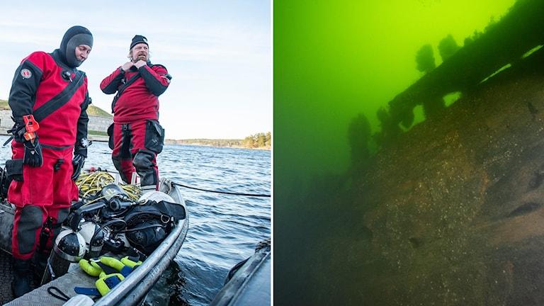 Jim Hansson tillsammans med kollega (t.v) och skeppsvraket under ytan (t.h).