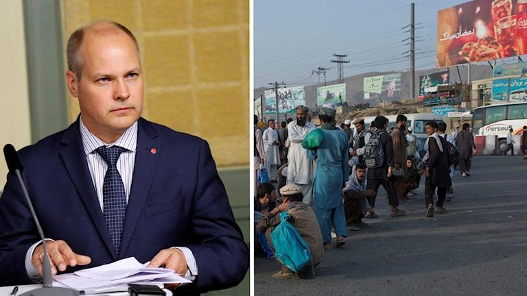 En bild på migrationsminister Morgan Johansson och en bild från ett torg i Kabul, Afghanistan.