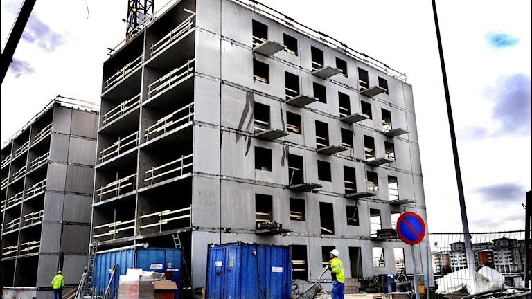 Bostäder byggs i Hammarby Sjöstad i Stockholm