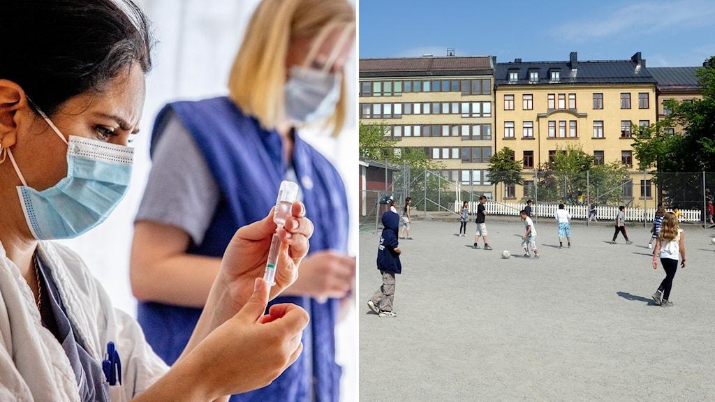 En bild på två sjuksköterskor med vaccin och barn på en skolgård.