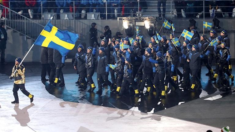 Svenska OS-truppen under invigningen. Foto: Andreas Hillergren/TT