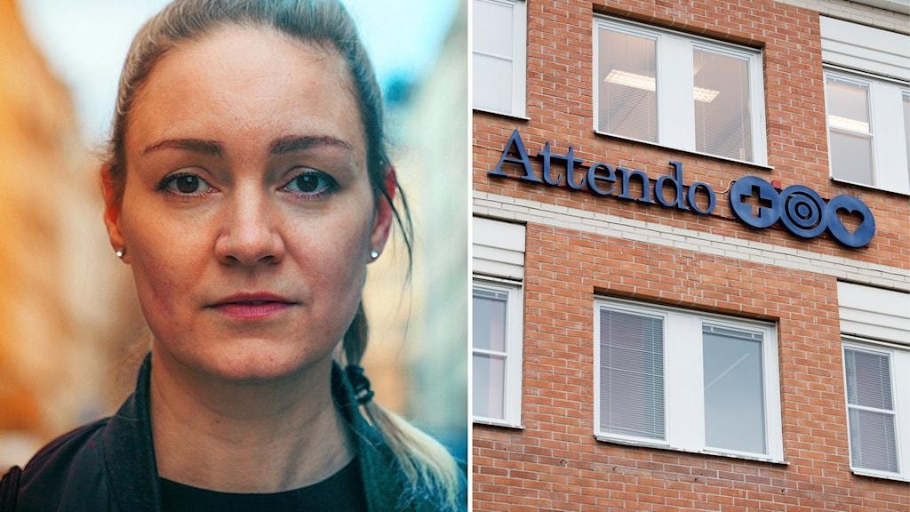 Bilden visar vårdbiträdet Stine Christophersen och ett hus med Attendos logotype.