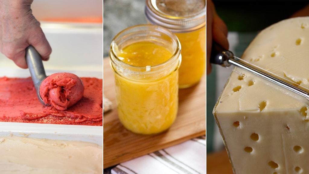 Tredelad bild på glass som skopas upp, en lemoncurdburk och en ost som skäres.