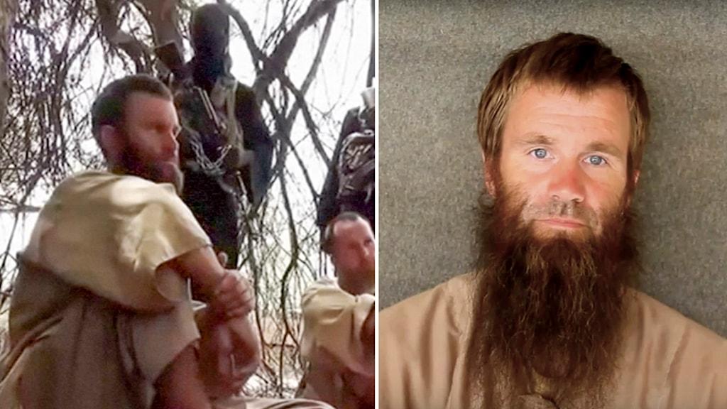 Bilder från videos som kidnapparna har visat upp på Johan Gustafsson, som har suttit kidnappad hos al-Qaida i nästan sex år.