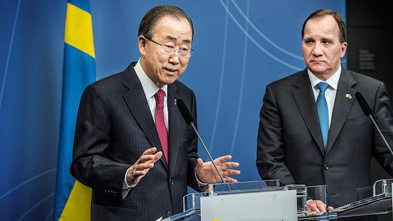 FN:s generalsekretare Ban-Ki Moon och statsminister Stefan Löfven.