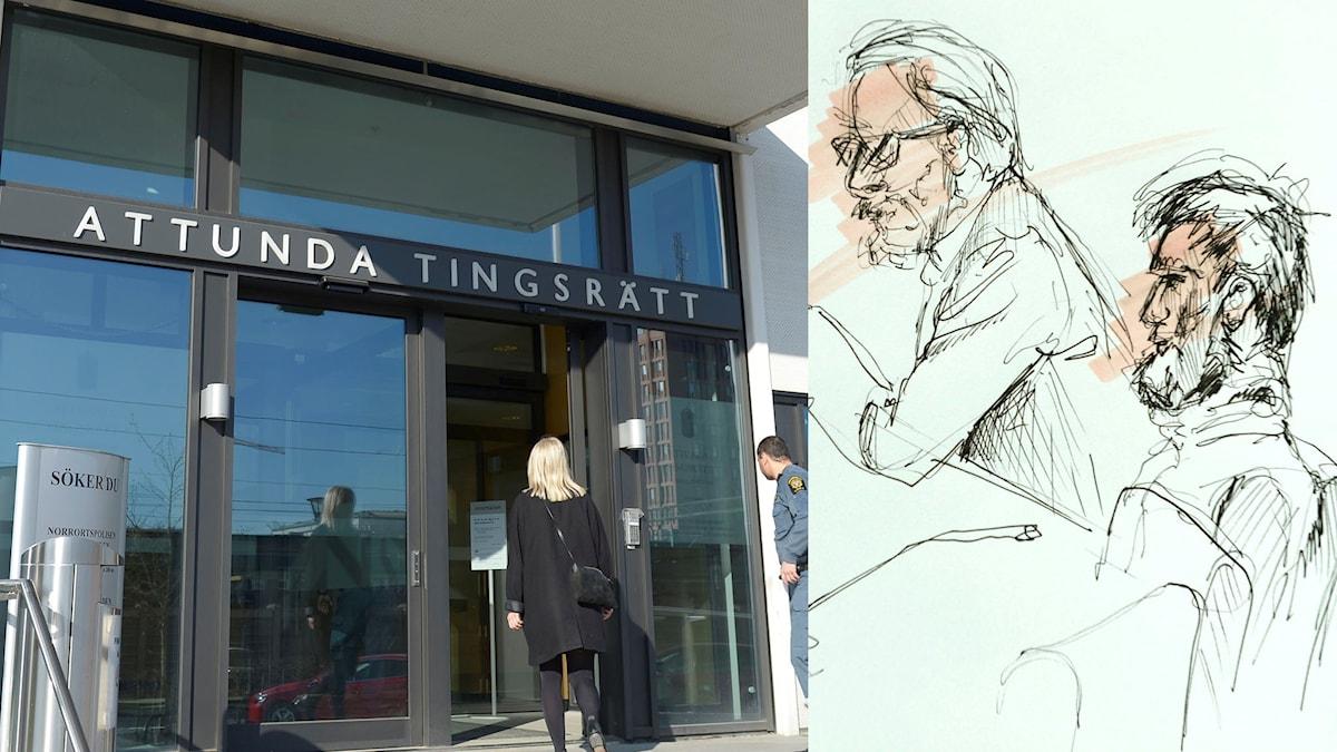 Montage av en bild på entrén till Attunda tingsrätt och en teckning från rättegången, som föreställer den åtalade mannen och hans advokat.
