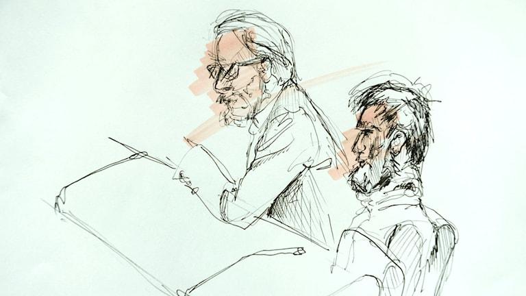 Teckning från rättegången mot en 20-årig man som misstänks ha planerat ett terrordåd i Sverige.