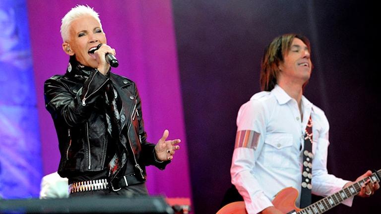 Roxette på en konsert på Peace and Love-festivalen 2012.