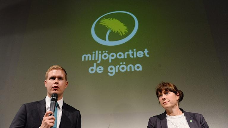 Miljöpartiets partiledare Gustav Fridolin och Åsa Romson