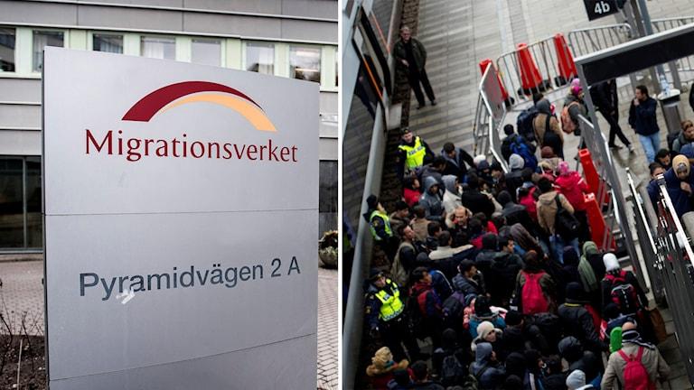 Skylt utanför Migrationsverket, och flyktingar som kommer till Hyllie station i Malmö