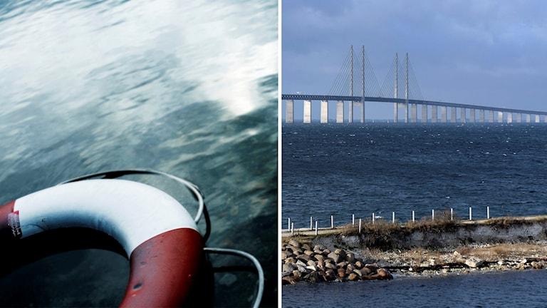 En bild på en livboj i vattnet, och en bild på Öresundsbron från den svenska sidan.