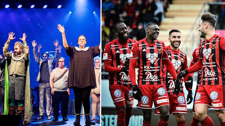 En bild på Glada Hudik-teatern och en bild på Östersund FK