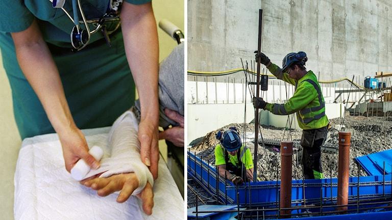 En bild på en sjuksköterska som lägger om ett bandage på en arm, och en bild på byggnadsarbetare.