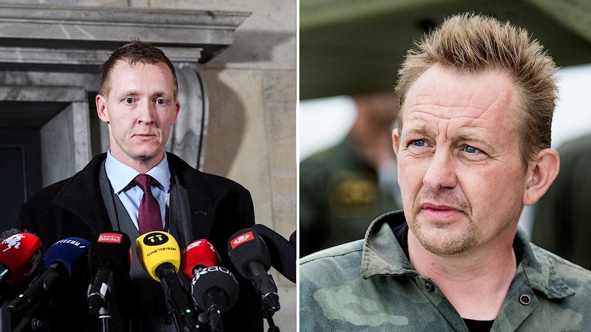 Foto av den danska åklagaren Jakob Buch-Jepsen och bild på Peter Madsen.