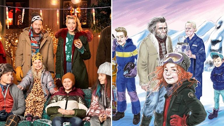 "Årets julkalender i TV heter ""Storm på Lugna gatan"" och årets julkalender i radio heter ""Tonje i Glimmerdalen""."