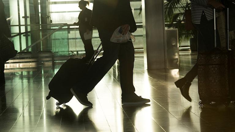 En person drar en väska. Foto: Fredrik Sandberg/TT