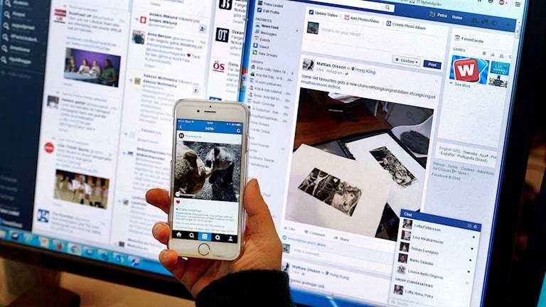 Olika sociala medier på datorskärm och mobiltelefon.