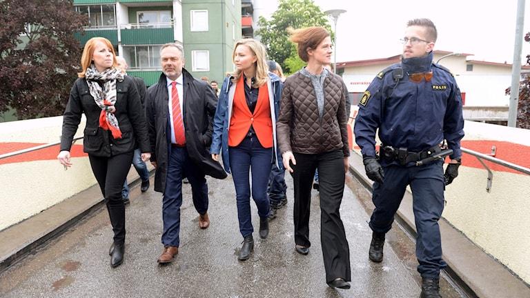Alliansens partiledare: Annie Lööf (Centerpartiet), Jan Björklund (Liberalerna), Ebba Busch Thor (Kristdemokraterna) och Anna Kinberg Batra (Moderaterna)