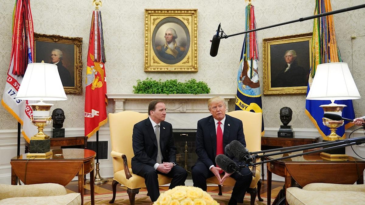 Statsminister Stefan Löfven träffar USA:s president Donald Trump.