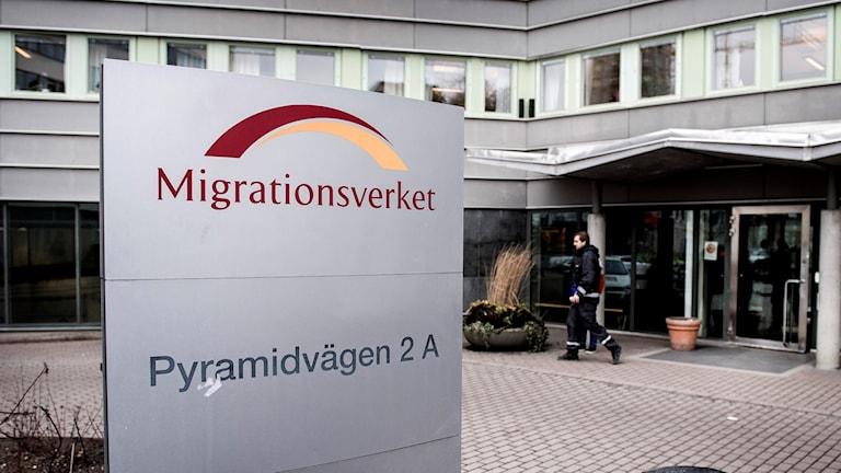 En skylt utanför Migrationsverket.