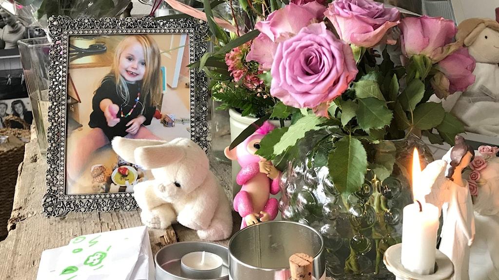 Bilden visar en bild av den döda flickan bredvid blommor, ett djur och en liten mjukdjurskanin.