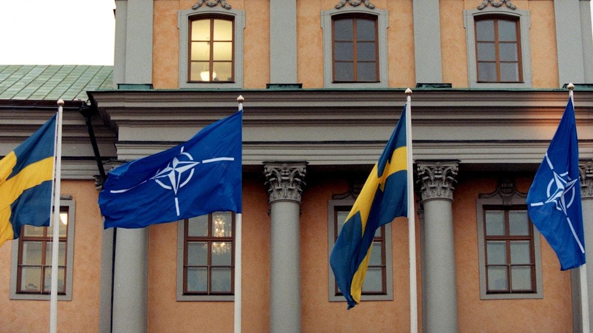 Blå flaggor med vita Natostjärnor och svenska flaggor, vajar utanför Utrikesdepartementet i Stockholm.