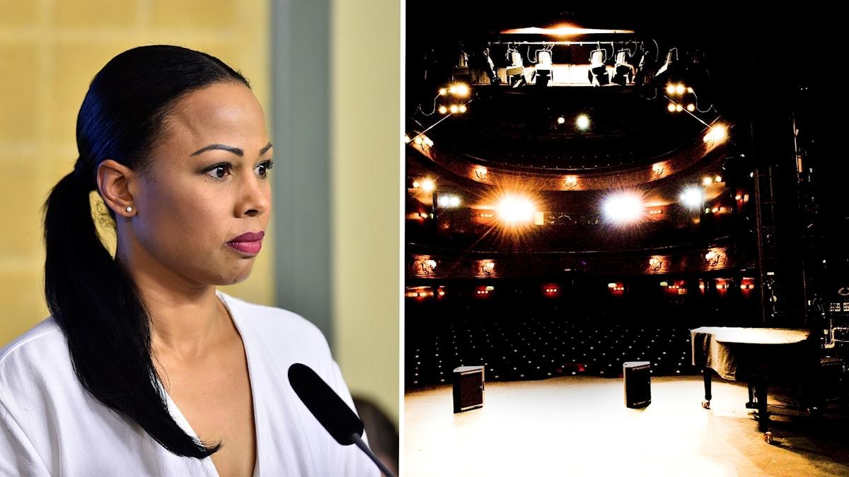 Kulturministern Alice Bah Kuhnke och en bild på en teaterscen.