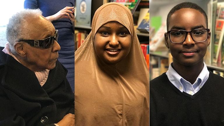 Qoraaga Maryse Condé, Abdikarim Mohamed iyo Hibo Ladan oo dhigta Rinkebyskolan.