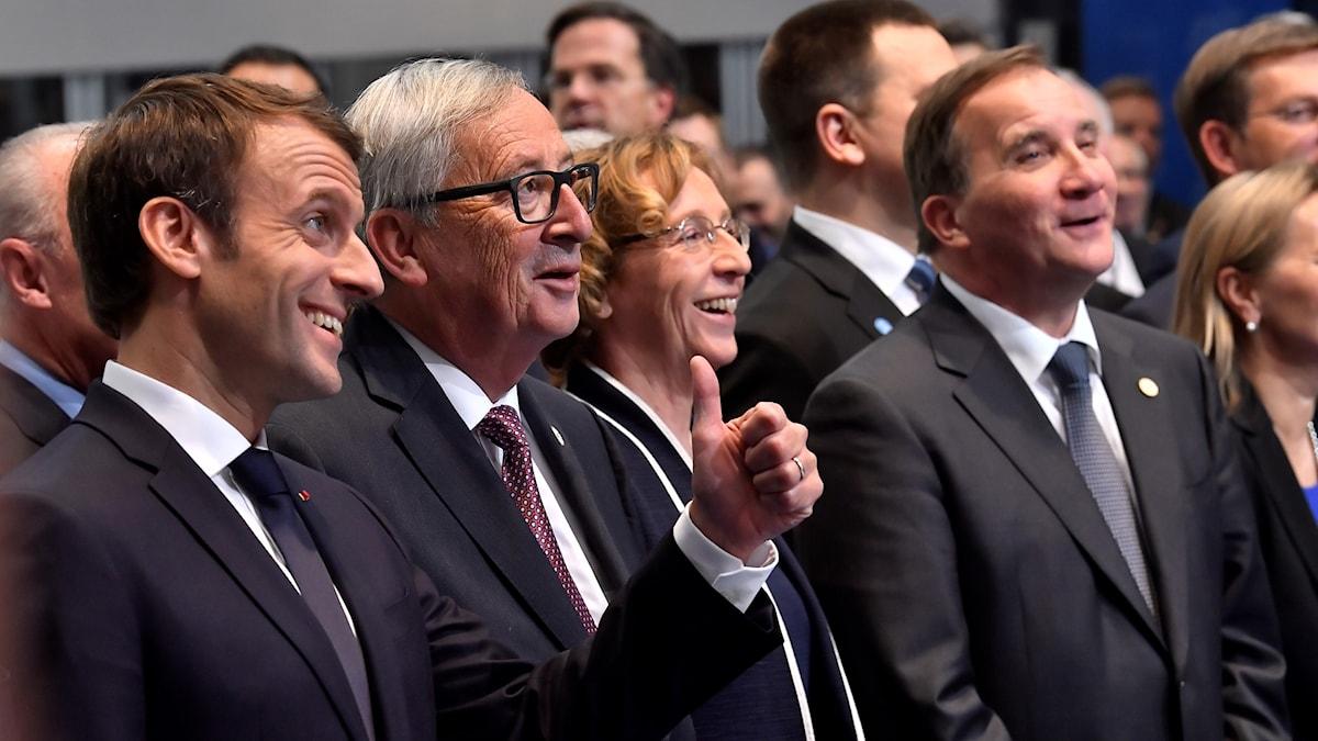 Frankrikes president Emmanuel Macron, EU-kommissionens ordförande Jean-Claude Juncker och Sveriges statsminister Stefan Löfven, på EU-mötet i Göteborg.