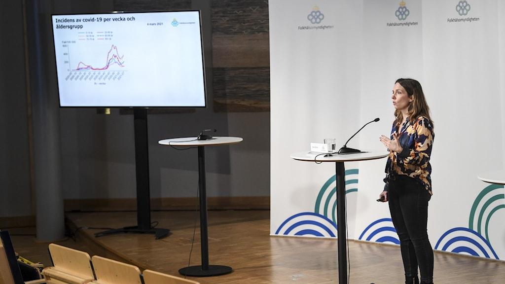Bilden visar Folkhälsomyndighetens enhetschef Sara Byfors på en pressträff framför en stor bildskärm med grafer om smittan för olika åldersgrupper.