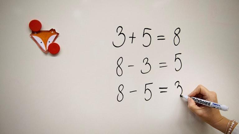 En lärare undervisar en lågstadieklass, årskurs 2, i matematik i Sofia skola