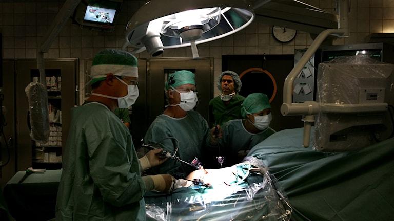 Läkare under en operation där en patient får en njure transplanterad.