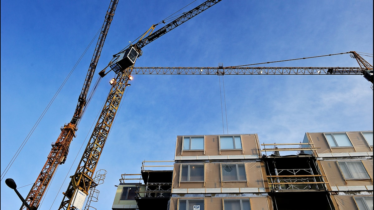 Byggkranar på ett bostadsbygge på Kungsholmen