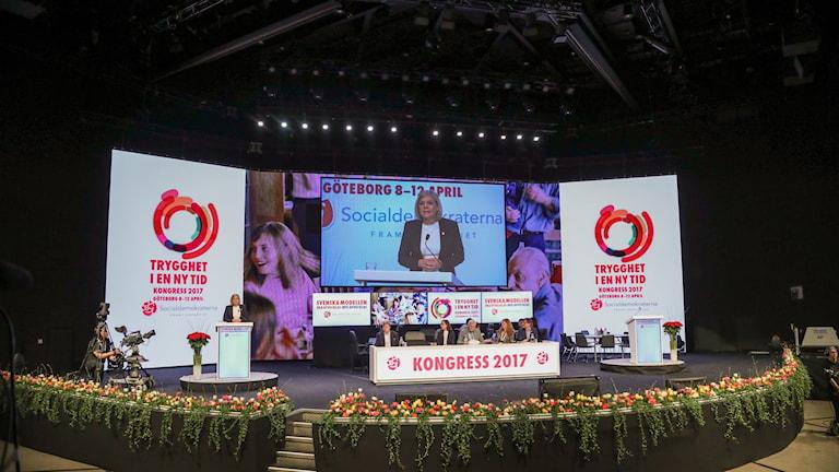 Finansministern Magdalena Andersson talar på Socialdemokraternas kongress i Göteborg.