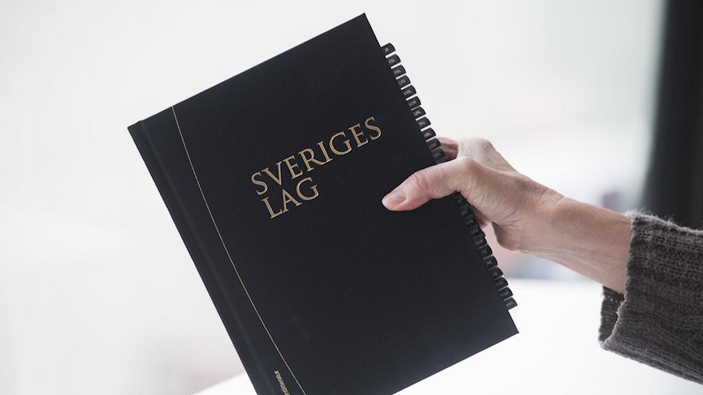 en hand som håller i en lagbok