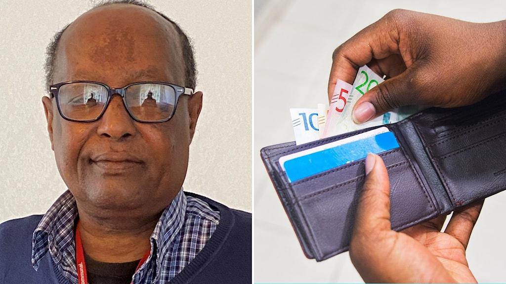 Bilden visar pensionären Abdulkadir Muse och en plånbok med pengar.