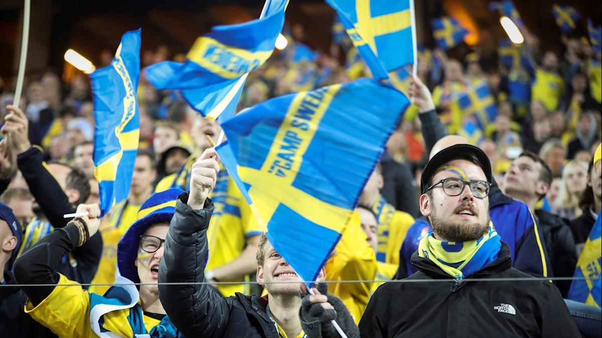 Publik på fotbollsmatchen mellan Sverige och Luxemburg.