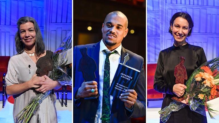 Författarna Sara Lundberg, Johannes Anyuru och Fatima Bremmer fick Augustpriset.