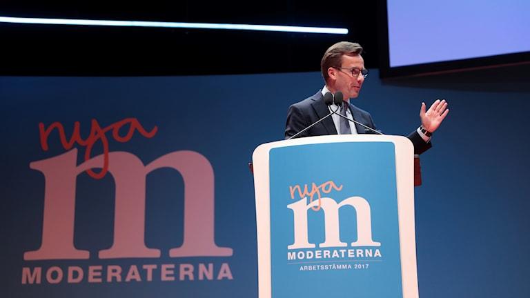 Ulf Kristersson på Mioderaternas stämma 2017.