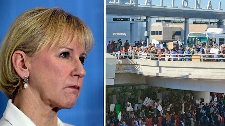 En bild på Margot Wallström och en bild på demonstrationer utanför flygplatsen i Los Angeles.